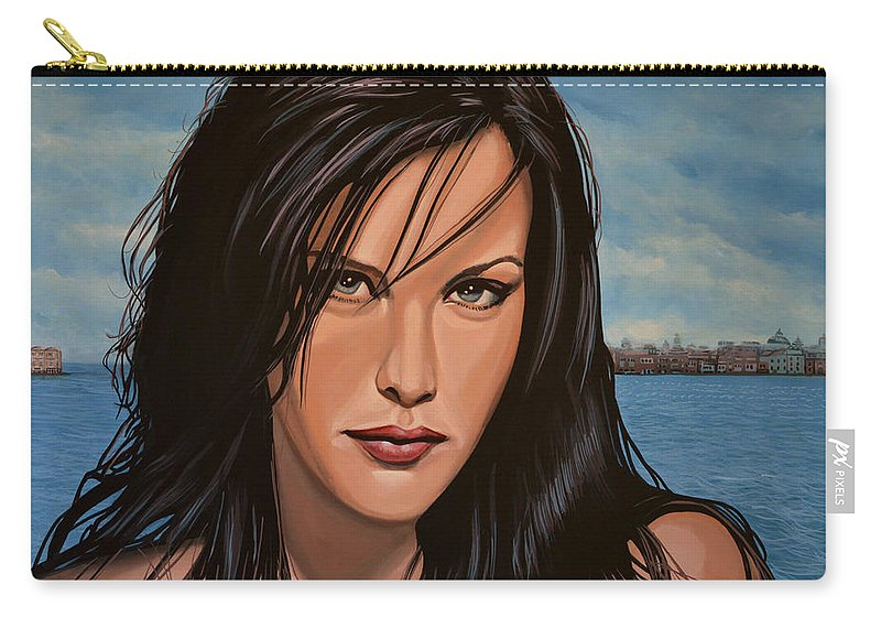 Liv Tyler Carry-all Pouch featuring the painting Liv Tyler by Paul Meijering