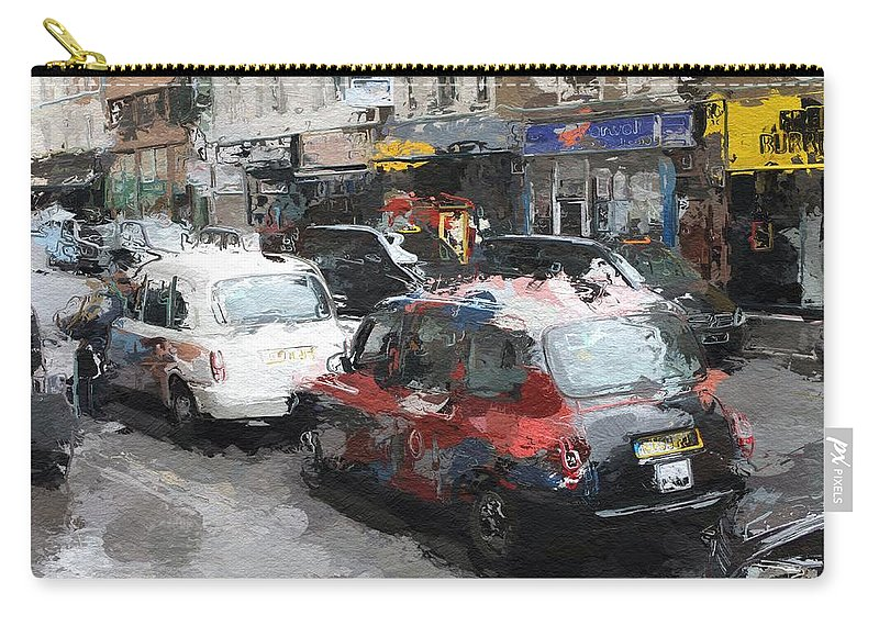 Liverpool Station London Cab Taxi Color Colorful Street Urban City Shop Expressionism Carry-all Pouch featuring the painting Liverpool Station London by Steve K