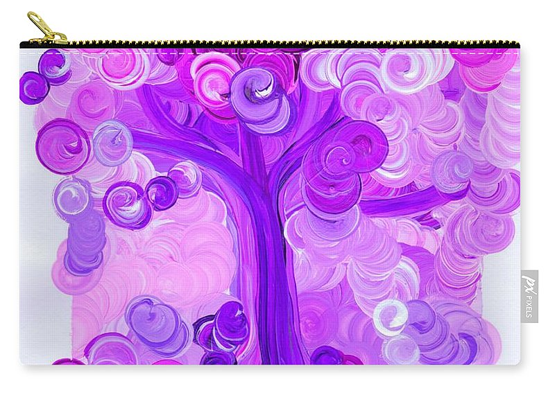 First Star Carry-all Pouch featuring the painting Liz Dixon's Tree Pink By Jrr by First Star Art