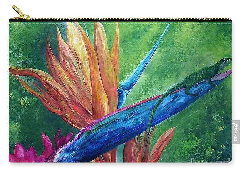 Lizard Carry-all Pouch featuring the painting Lizard On Bird Of Paradise by Eloise Schneider