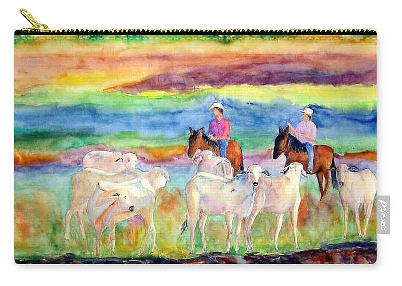 Llanos Carry-all Pouch featuring the painting llanos Cowboys by Patricia Beebe