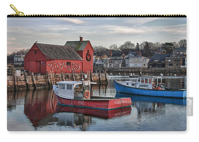 Motif Number One Rockport Lobster Shack By Jeff Folger Carry-all Pouch featuring the photograph Lobster Boats At Motif 1 by Jeff Folger