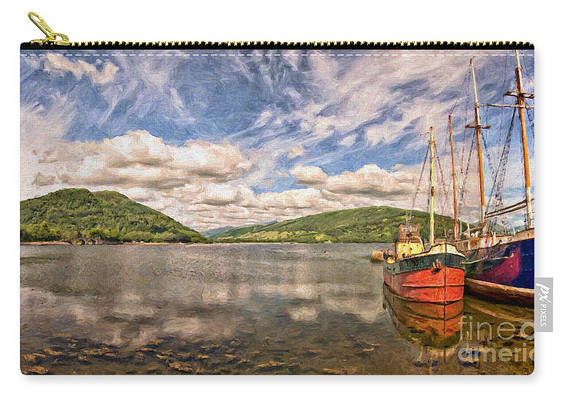 Vital Carry-all Pouch featuring the painting Loch Fyne Digital Painting by Antony McAulay