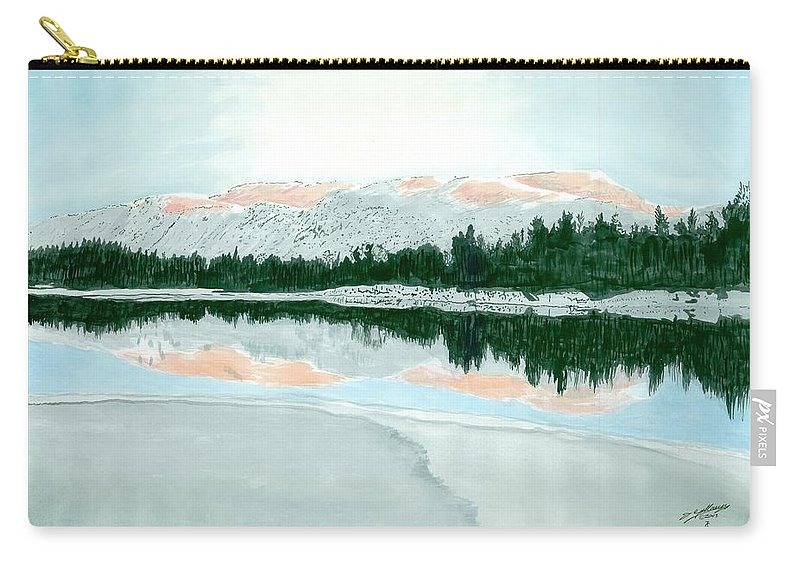 Mountain Carry-all Pouch featuring the painting Loch Ossian by Iain Galloway
