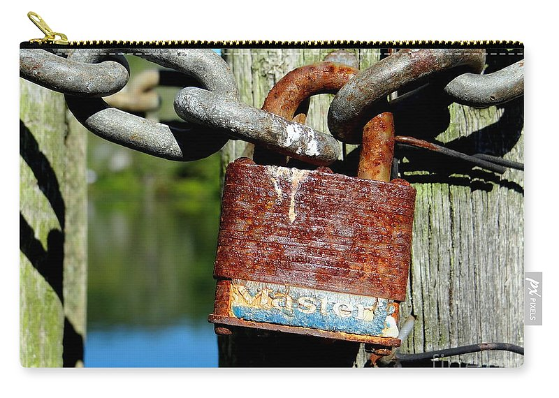 Lock Carry-all Pouch featuring the photograph Lock And Chain by Ed Weidman