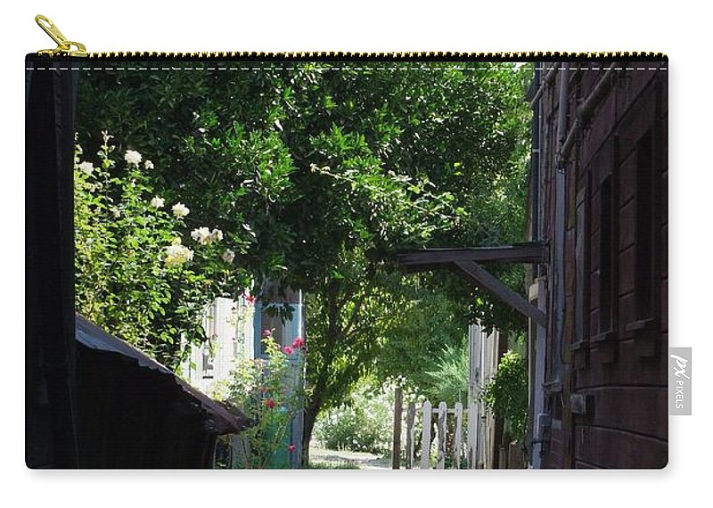Green Carry-all Pouch featuring the photograph Locke Chinatown Series - Alley With Trees - 5 by Mary Deal