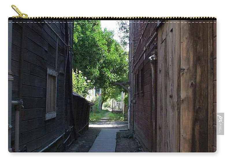 Alleyways Carry-all Pouch featuring the photograph Locke Chinatown Series - Alleyway With Trees - 4 by Mary Deal