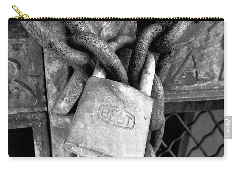 Joseph Skompski Carry-all Pouch featuring the photograph Locked - Black And White by Joseph Skompski