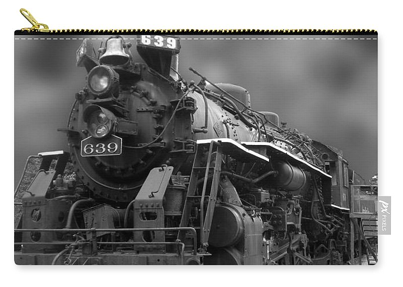 Train Carry-all Pouch featuring the photograph Locomotive 639 Type 2 8 2 Front And Side View Bw by Thomas Woolworth