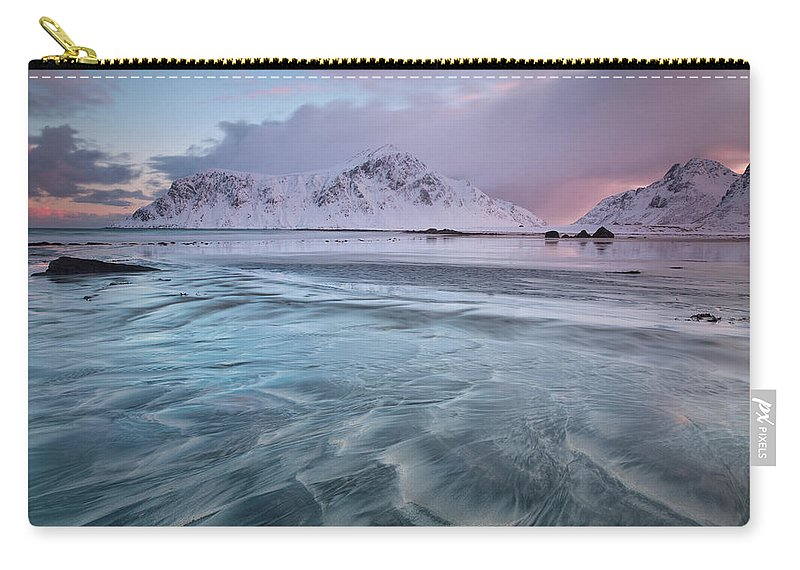 Scenics Carry-all Pouch featuring the photograph Lofoten Island Sunrise by Antonyspencer
