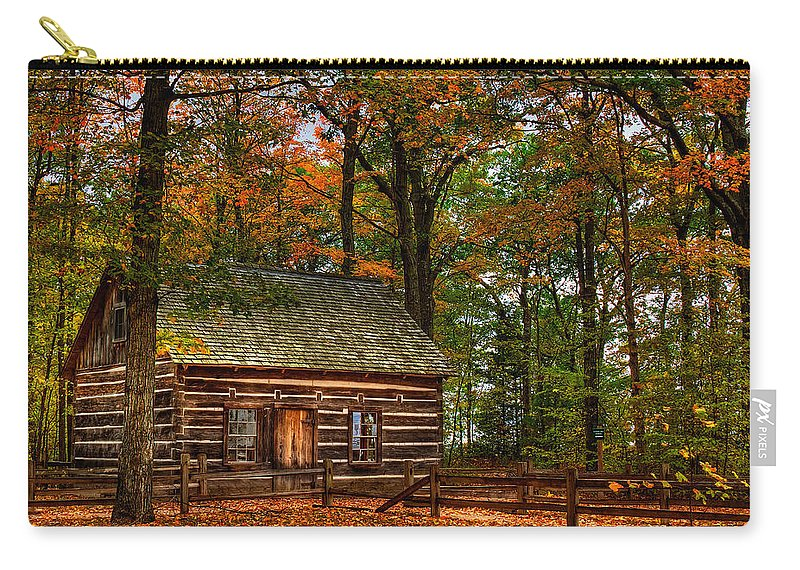 Image Carry-all Pouch featuring the photograph Log Cabin In Autumn Color by Richard Gregurich