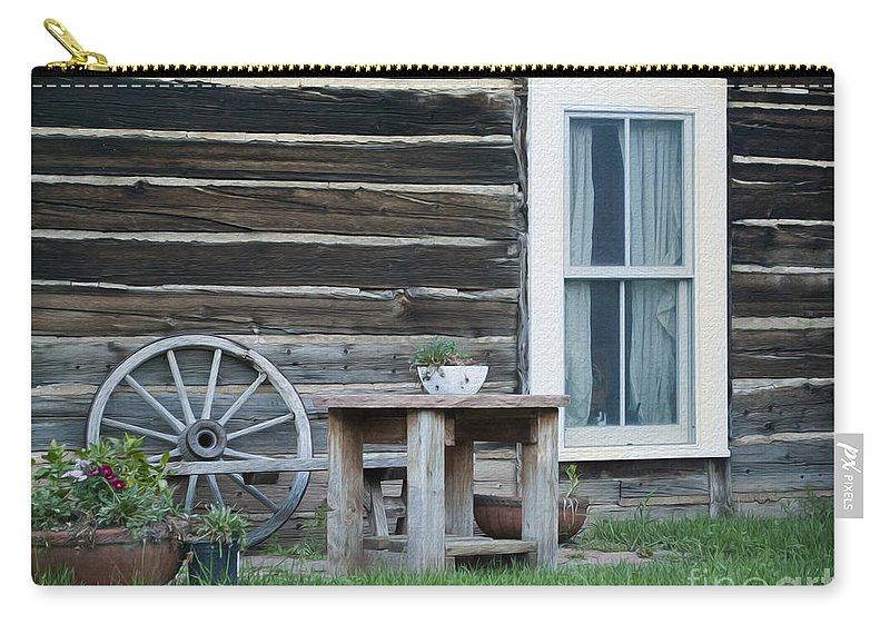 601 Klondyke Ave Carry-all Pouch featuring the photograph Log Cabin by Juli Scalzi