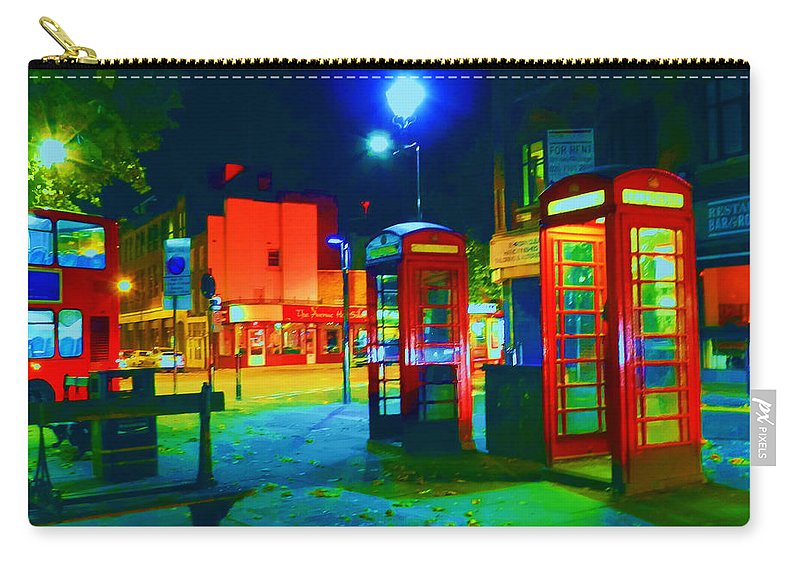 London Carry-all Pouch featuring the digital art London At Night by Kim Upshaw