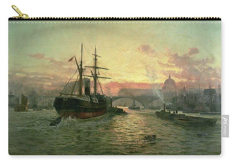 River Thames Carry-all Pouch featuring the painting London Bridge by Charles John de Lacy