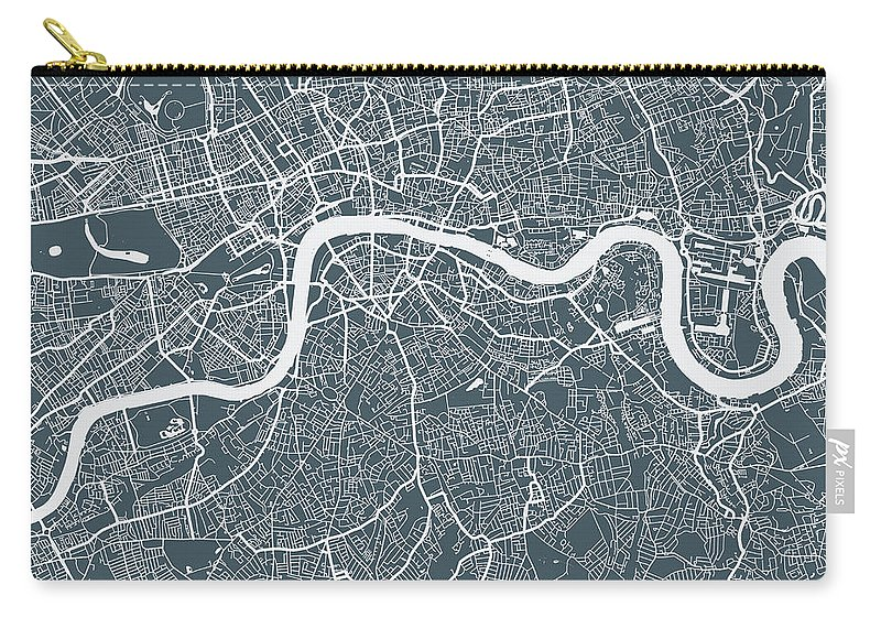 Art Carry-all Pouch featuring the digital art London City Map by Mattjeacock
