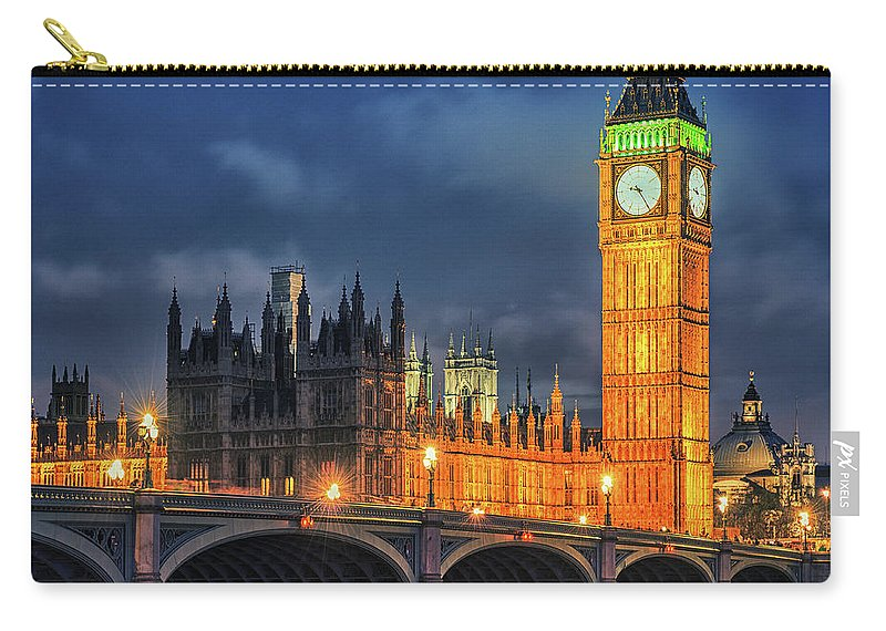 Clock Tower Carry-all Pouch featuring the photograph London - City Of Westminster And River by Franckreporter