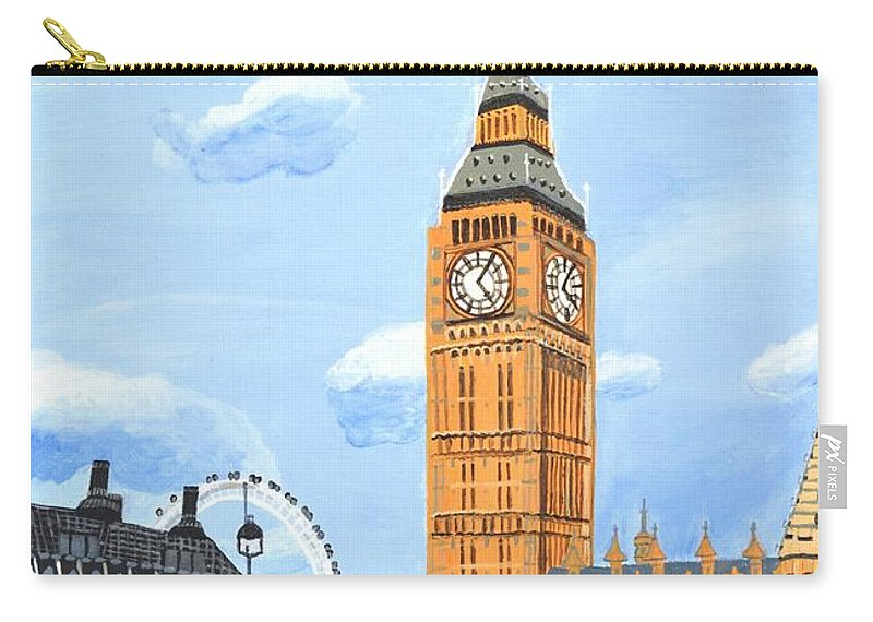 Big Ben Carry-all Pouch featuring the painting London England Big Ben by Magdalena Frohnsdorff