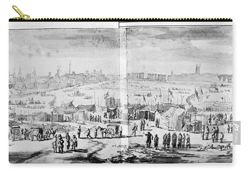 1683 Carry-all Pouch featuring the drawing London Frost Fair, 1684 by Granger