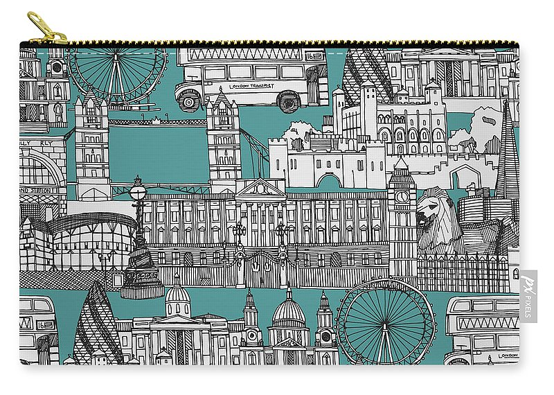Includes The Tower Of London Carry-all Pouch featuring the drawing London Toile Blue by MGL Meiklejohn Graphics Licensing