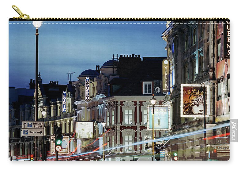 Recreational Pursuit Carry-all Pouch featuring the photograph Londons Shaftesbury Avenue At Dusk by Shomos Uddin