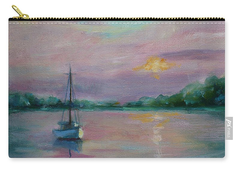 Painting Carry-all Pouch featuring the painting Lone Boat At Sunset by Sarah Parks