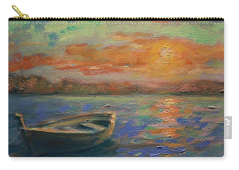 Painting Carry-all Pouch featuring the painting Lone Dinghy by Sarah Parks