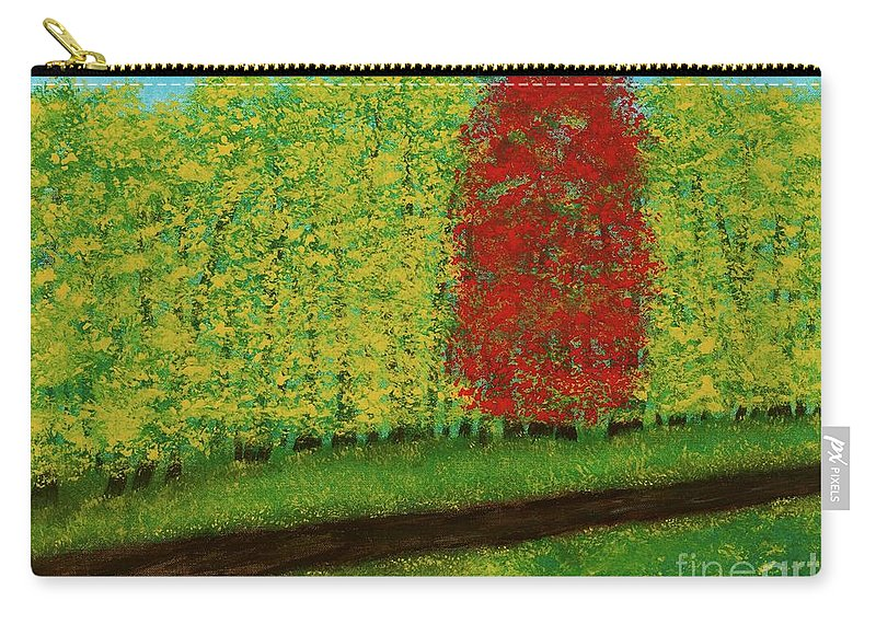 Landscape Carry-all Pouch featuring the painting Lone Maple Among The Ashes by Hillary Binder-Klein