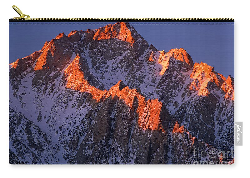 Alabama Hills Carry-all Pouch featuring the photograph Lone Pine Peak - February by Inge Johnsson