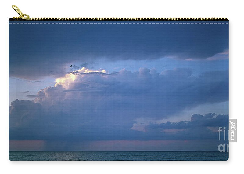 Panoramic Carry-all Pouch featuring the photograph Lone Thunderstorm On Lake Erie by John Harmon