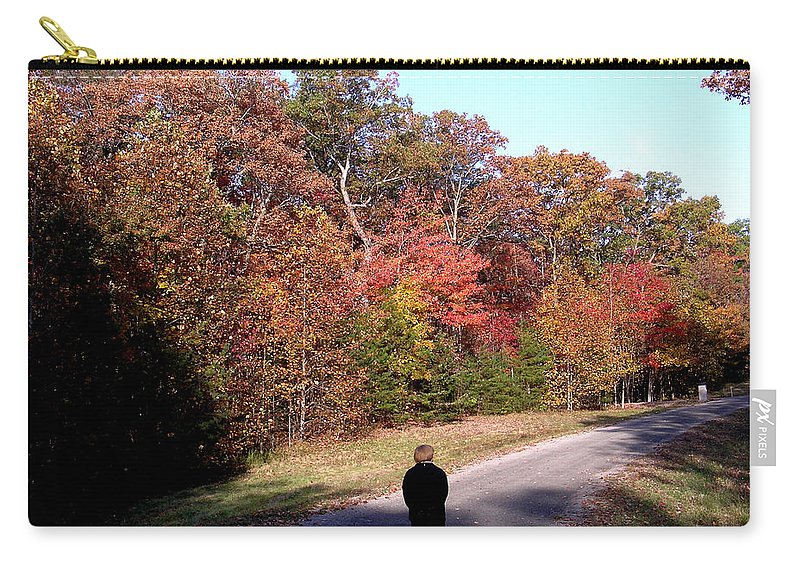 Lonely Carry-all Pouch featuring the photograph Lonely Road Home by Douglas Barnett
