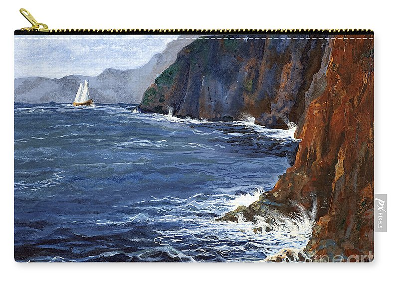 Landscape Carry-all Pouch featuring the painting Lonely Schooner by Mary Palmer