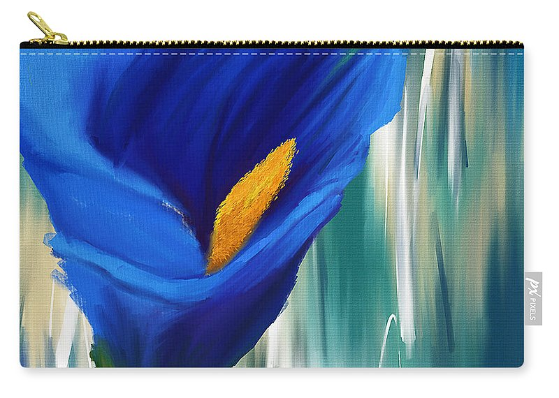 Blue Calla Lily Carry-all Pouch featuring the painting Lonesome And Blue- Blue Calla Lily Paintings by Lourry Legarde