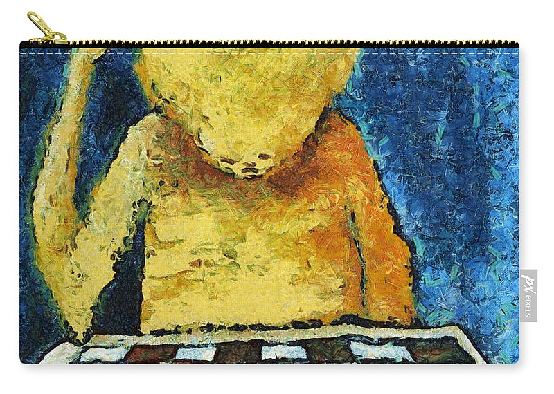 Alone Carry-all Pouch featuring the digital art Lonesome Chess Player by Michal Boubin