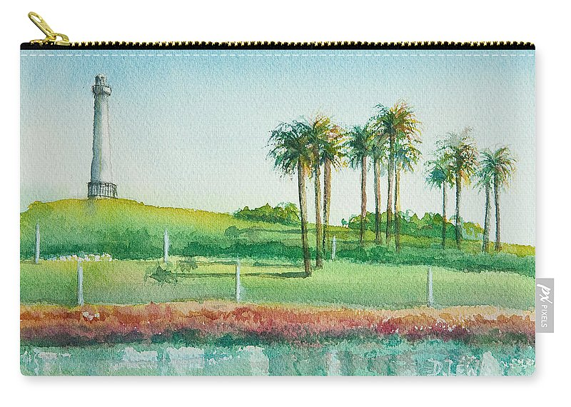 Watercolor Carry-all Pouch featuring the painting Long Beach Lighthouse by Debbie Lewis