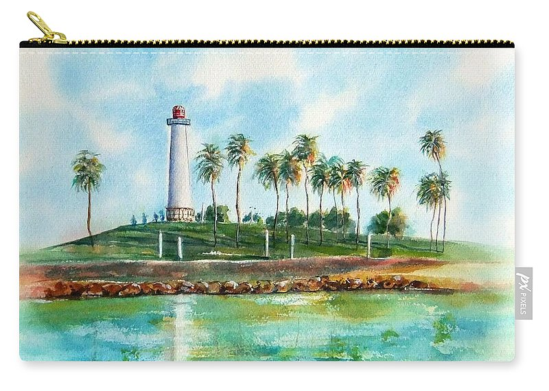 Long Beach Lighthouse Carry-all Pouch featuring the painting Long Beach Lighthouse Version 2 by Debbie Lewis