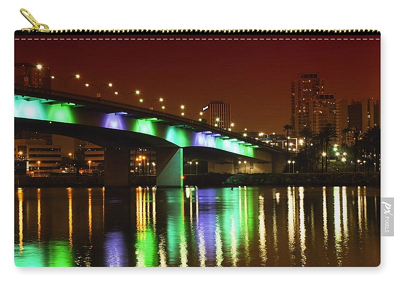 Long Beach Carry-all Pouch featuring the photograph Long Beach Skyline At Night by Jenny Hudson