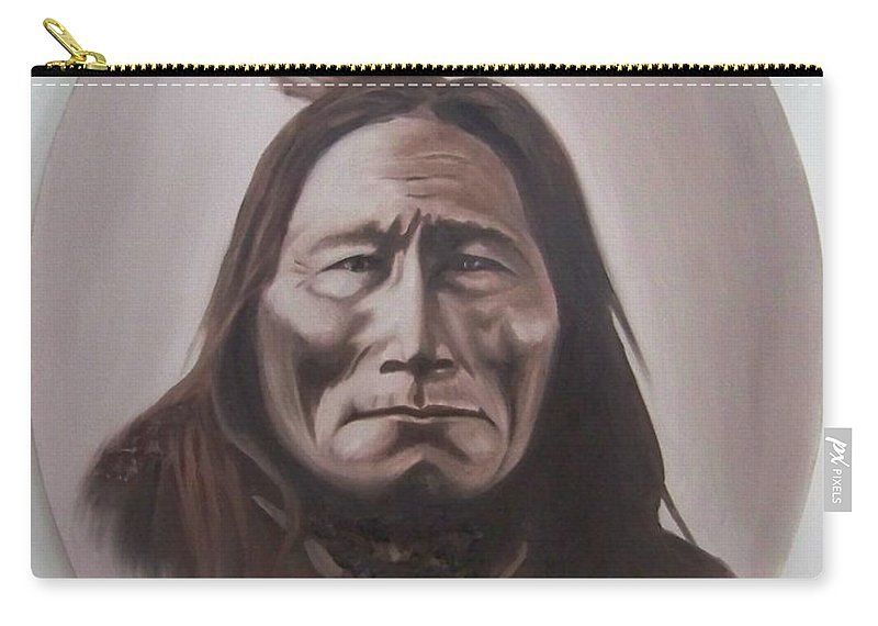 Michael Carry-all Pouch featuring the painting Long Bear by Michael TMAD Finney