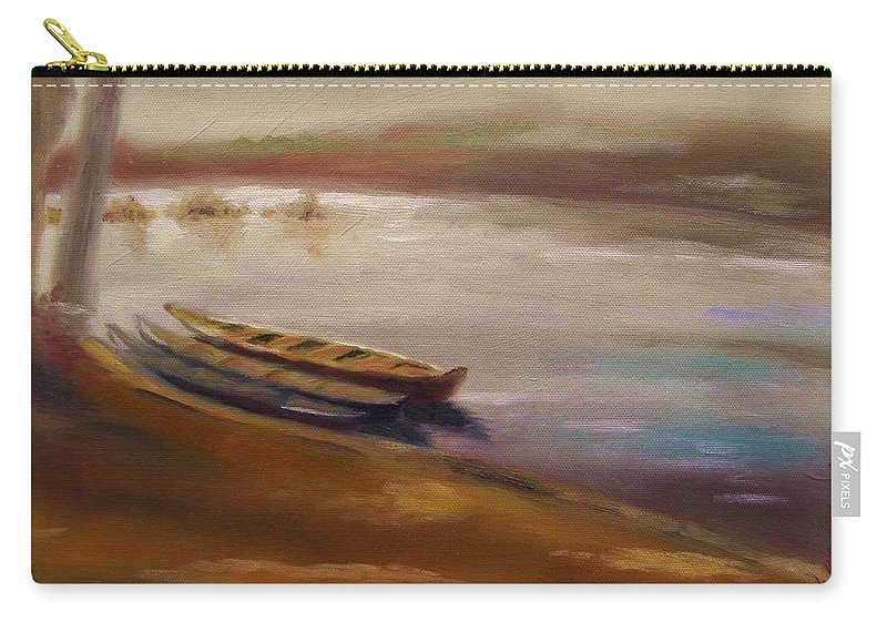 Longboats At The Crossings Carry-all Pouch featuring the painting Long Boats At The Crossing by John Williams