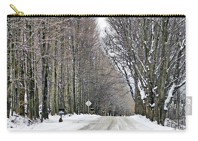 Winter Carry-all Pouch featuring the photograph Long Country Road by Deborah Benoit