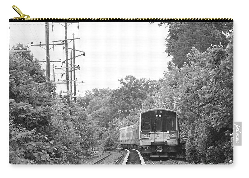 Long Island Railroad Pulling Into Station Carry-all Pouch featuring the photograph Long Island Railroad Pulling Into Station by John Telfer