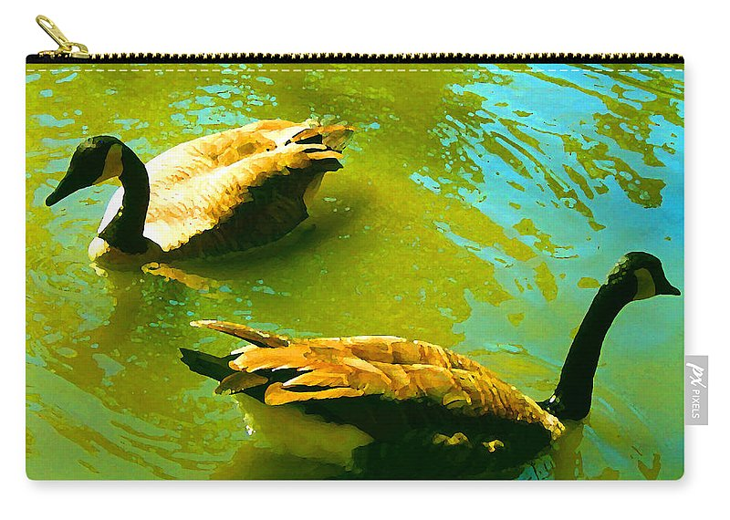 Wild Birds Carry-all Pouch featuring the painting Long Neck Ducks by Amy Vangsgard