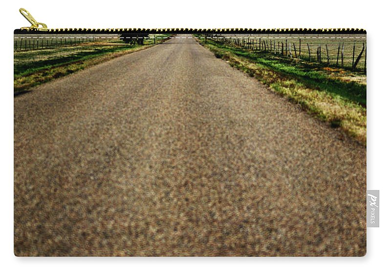 Landscape Carry-all Pouch featuring the photograph Long Road by Pam Romjue