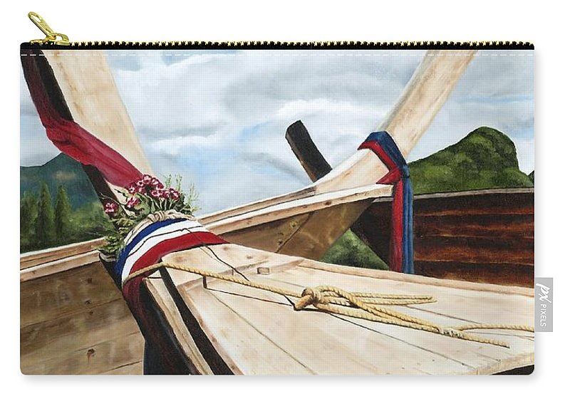 Art Carry-all Pouch featuring the painting Long Tail Boats Of Krabi by Mary Rogers