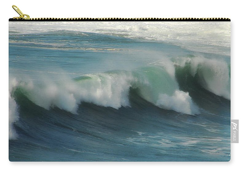 Ocean Carry-all Pouch featuring the photograph Long Wave by Donna Blackhall