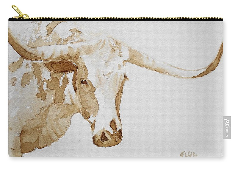 Coffee Carry-all Pouch featuring the painting Longhorn by Judy Fischer Walton