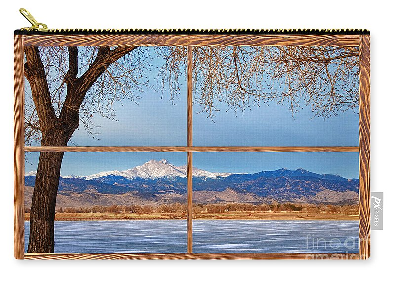 Windows Carry-all Pouch featuring the photograph Longs Peak Across The Lake Barn Wood Picture Window Frame View by James BO Insogna