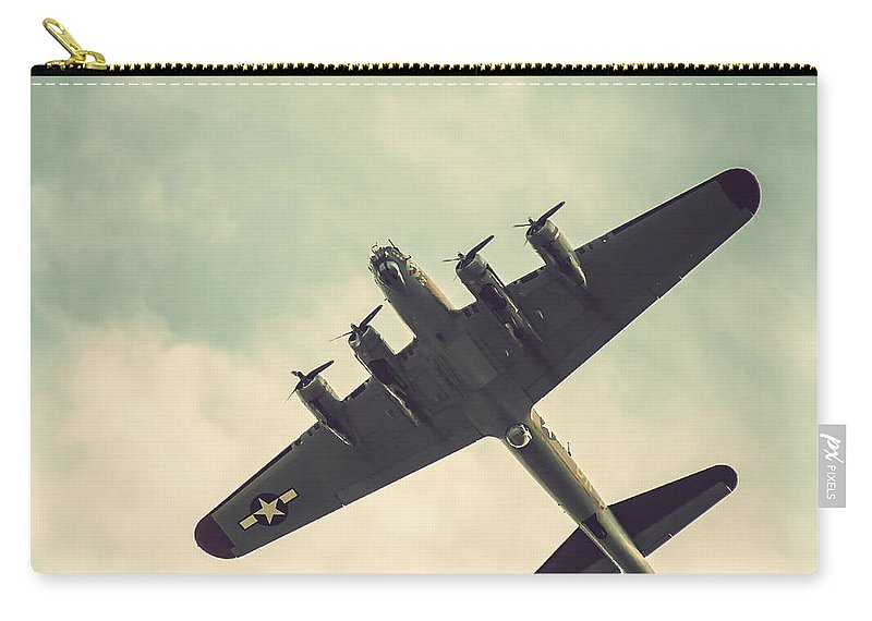 Look Up Vintage B-17 Flying Fortress Carry-all Pouch featuring the photograph Look Up Vintage B-17 Flying Fortress by Terry DeLuco
