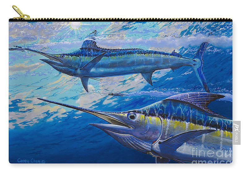 Marlin Carry-all Pouch featuring the painting Lookers Off0019 by Carey Chen