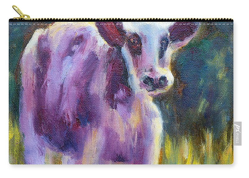 Cow Carry-all Pouch featuring the painting Looking At You by Carolyn Jarvis