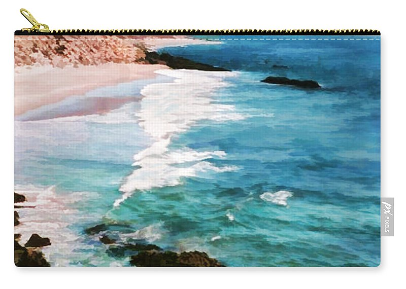 Ocean Carry-all Pouch featuring the painting Looking South On The Northern California Coast by Elaine Plesser